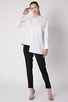 White Button Down Asymmetric Shirt by ALIGNE
