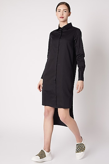 Black Tux Shirt Dress by ALIGNE