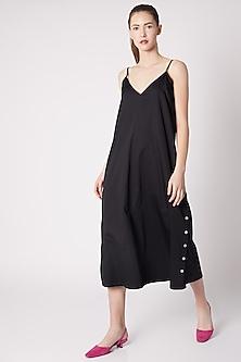 Black Cotton Sateen A-Line Dress by ALIGNE