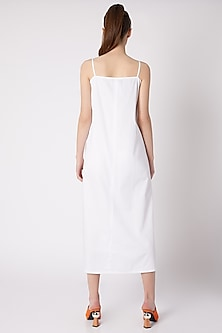White A-Line Cotton Sateen Dress by ALIGNE