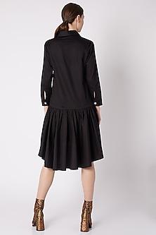 Black Cotton Sateen Dress by ALIGNE