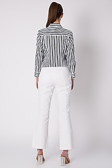 White Cotton Twill Pants by ALIGNE