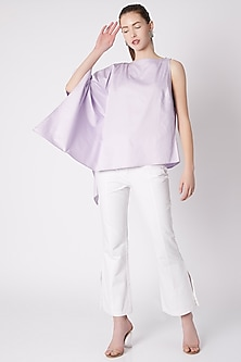 Violet Asymmetric Top With High Neck by ALIGNE