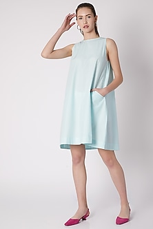 Sky Blue Sleeveless Cotton Dress by ALIGNE