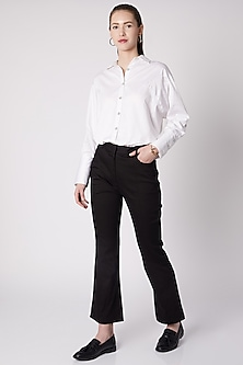 Black Cotton Twill Pants by ALIGNE