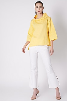 Yellow Cotton Top With Button Closure by ALIGNE