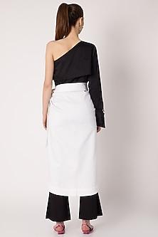 White Cotton Twill Wrap Skirt by ALIGNE