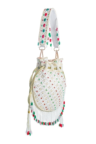 Off White Pearls Embroidered Potli by Aloha by PS