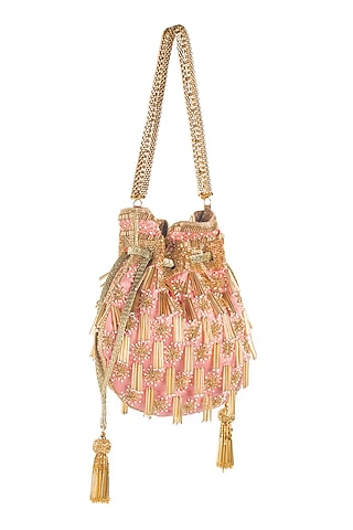 Blush Pink Embroidered Potli by Aloha by PS