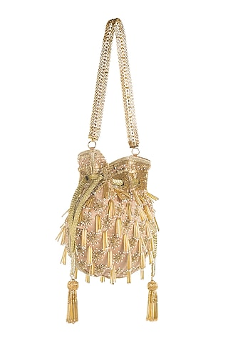 Gold Cutdana Embroidered Potli by Aloha by PS