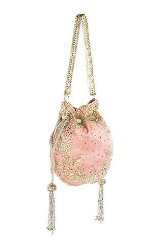 Blush Pink Sequins Embroidered Potli by Aloha by PS