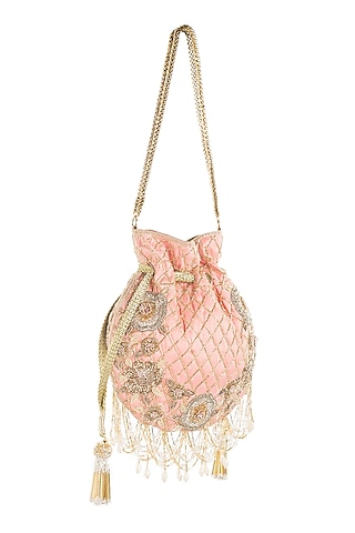 Blush Pink Potli With Tassels by Aloha by PS