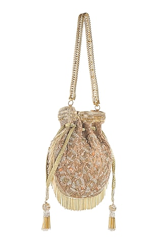 Brown & Gold Embroidered Potli by Aloha by PS