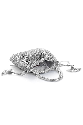 Silver Embroidered Potli With Tassels by Aloha by PS
