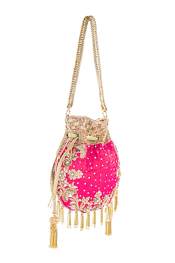 Rani Pink French Knot Embroidered Potli by Aloha by PS