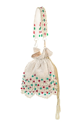 Pearl White Embroidered Potli by Aloha by PS
