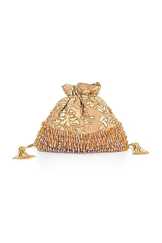 Gold Cutdana Embroidered Potli With Tassels by Aloha by PS