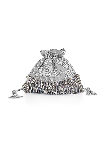 Greyish Silver Embroidered Potli With Tassels by Aloha by PS