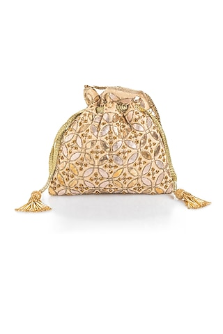 Light Gold Embroidered Potli by Aloha by PS