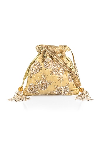 Gold Hand Embroidered Potli by Aloha by PS