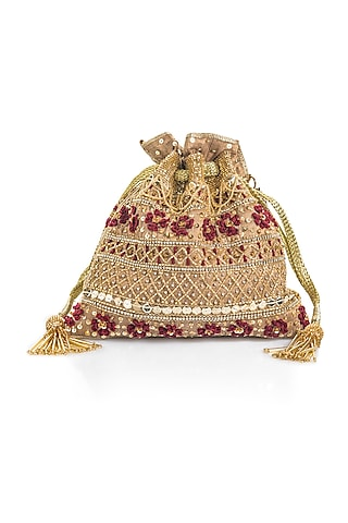 Gold Resham Embroidered Potli by Aloha by PS