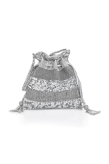 Silver Hand Embroidered Potli by Aloha by PS