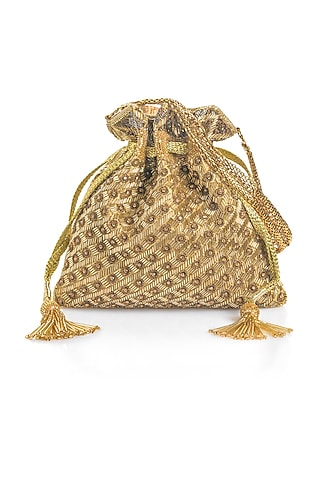 Gold Salli Embroidered Potli by Aloha by PS