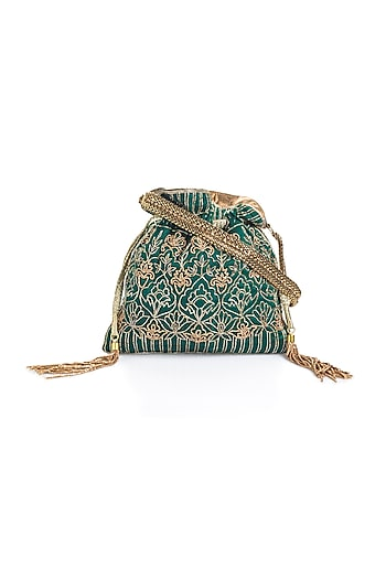 Green Cutdana Embroidered Potli by Aloha by PS