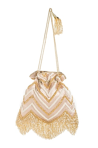 Light Gold Chevron Embroidered Potli by Aloha by PS