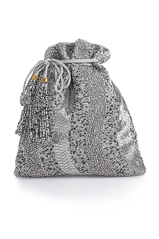 Silver Cutdana Embroidered Potli by Aloha by PS