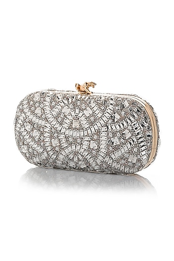Silver Hand Embroidered Crossbody Clutch by Aloha by PS