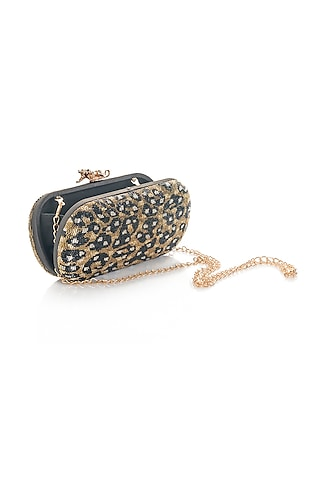 Gold Printed & Embroidered Clutch by Aloha by PS