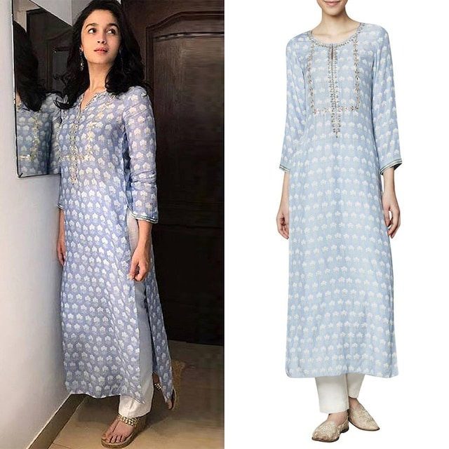 Powder Blue Floral Printed Kurta by Anita Dongre