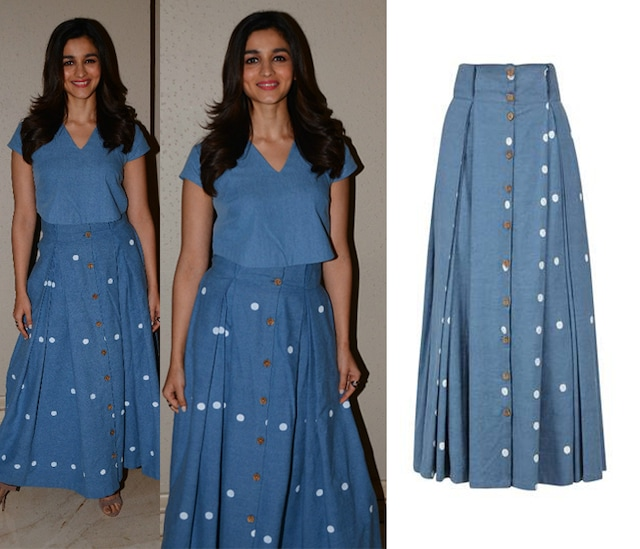 Blue Dot Print Button Down Long Skirt by Masaba