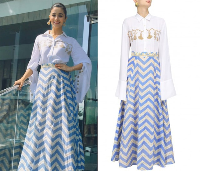 White Tassel Hanging Shirt with Blue Printed Skirt by Natasha J