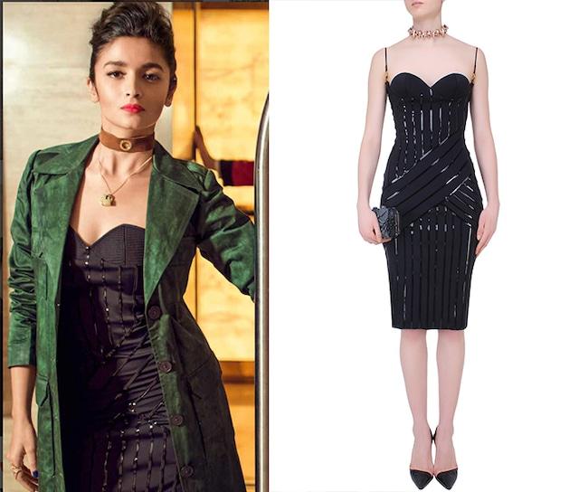 Black Leather Lines Work Sculpted Neck Little Dress by Shivan & Narresh
