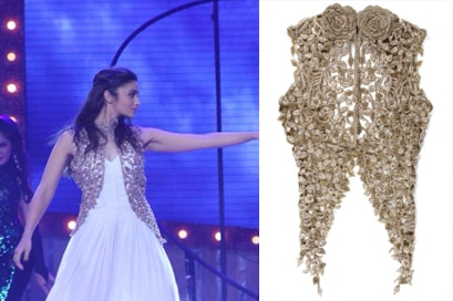 Gold embroidered cutwork jacket by Sonaakshi Raaj