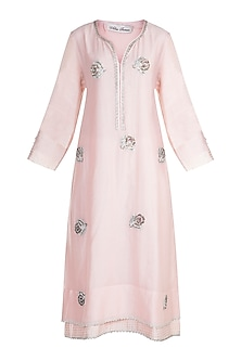 Blush Pink Embroidered Kurta With Dupatta by Alkaline by Alka Suman