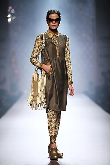 Olive green printed sleeves pintucks kurta with printed chruidaar by Ashima Leena