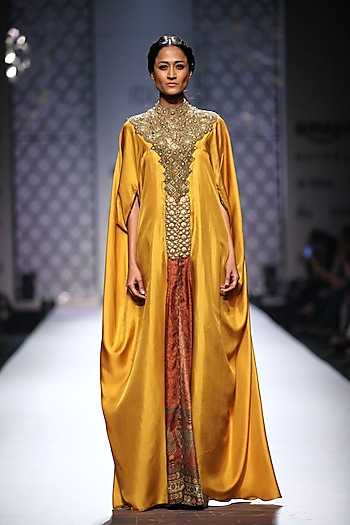 Mustard embellished kaftan with printed slit and green palazzos by Ashima Leena