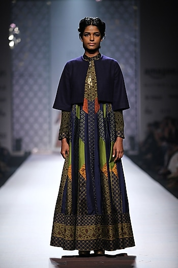 Navy blue, green, mustard and olive green ikat weave panelled jacket anarkali with green palazzos by Ashima Leena