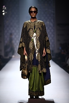 Navy blue printed kimono cape with blue-green color blocked saree and blouse by Ashima Leena