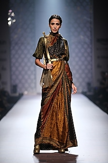 Olive green, mustard and maroon triangle print stitched saree with printed blouse by Ashima Leena