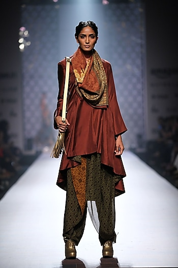 Maroon asymmetric jacket kurta with mustard and olive grreen printed dhotis and maroon printed stole by Ashima Leena