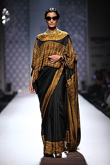 Black plain printed border saree with square embellished print blouse by Ashima Leena