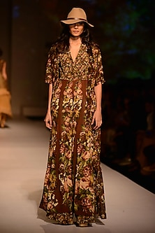 Wine Floral Printed Layered Maxi Dress by Ashima Leena