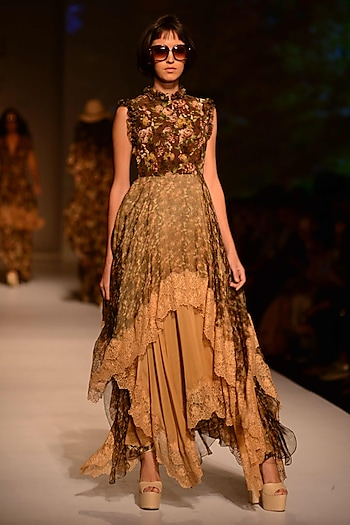 Wine and Gold Floral Printed Lasymmetric Layered Dress by Ashima Leena