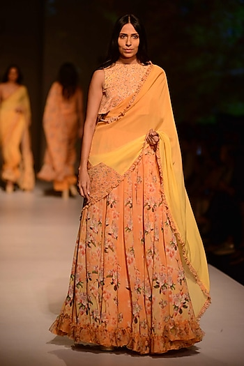 Peach and Lemon Floral Printed Lehenga Skirt and Blouse Set by Ashima Leena