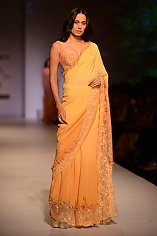 Peach and Lemon Shaded Saree with Floral Printed Blouse by Ashima Leena
