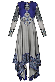Grey and Blue Asymmetrical Anarkali with Churidar Pants by Ashima Leena